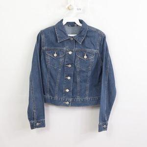 Lands End Womens XS Full Button Denim Jacket Blue
